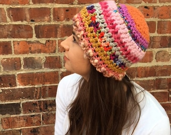 Crocheted Woman's Hat, Striped, Pink, Beanie, Multicolored, Hip, Hippie, Hipster, Boho, Bohemian, Ribbon,Eclecetic, Fun, Funky, Unique Adult