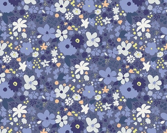 Vintage Rush Bleu fabric (SOLD in 1/2 YARD INCREMENTS) From Chic Flora by Art Gallery Fabrics Studio (Art Gallery Fabrics)
