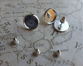 Round Earring Settings, 10mm Earring Settings, Silver Plated Earring Settings, Earring Posts, Silver Posts, Round Bezels, Earring Blanks,