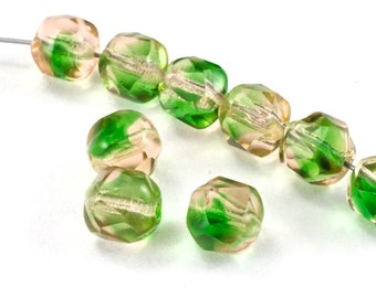 8mm Transparent Rose/Peridot Twist Bead (25 Pcs) #GEP103