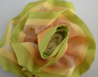 Blue flower Green orange organza fabric 8 cm as11