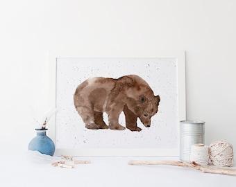 Watercolor Bear Print » 4x6 5x7 8x10 11x14 » Cabin Wall Art » Grizzly Bear Printable » Woodland Wall Art » Rustic Home Decor » Digital Print