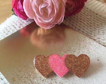 "Brooch rose ""Bunch of hearts"""