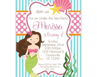 Mermaid Invitation - Turquoise Blue Stripes and Pink Polka Dots, Girl Mermaid Personalized Birthday Party Invite - a Digital Printable File