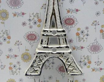 Eiffel Tower Cast Iron Shabby Elegance White Wall Hook French Home Design Art Decor Paris Coat Jewelry Towel Hat Leash Key Mudroom Hook