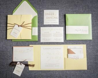 """Modern Rustic Wedding Invitation, Garden Wedding Invitations, Pocketfold Wedding Invites - """"Modern Calligraphy"""" PF-NL-v2 SAMPLE"""