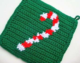 Set of Two Candy Cane Potholders - Christmas Potholders - Crochet Potholders - Peppermint Pot Holder in Red, White, Green MADE TO ORDER