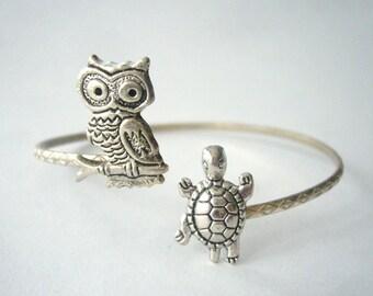 Turtle bracelet wrap style with an owl