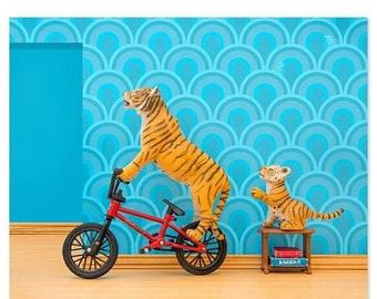 35% OFF SALE Tiger animal art print with BMX: Tiger Mom