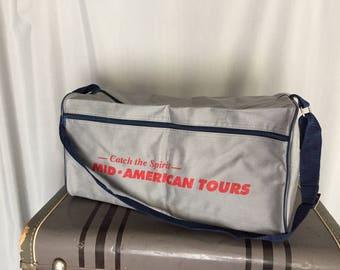 Gray Duffel Bag Vintage Tote Gym Bag Navy Blue Handle Straps