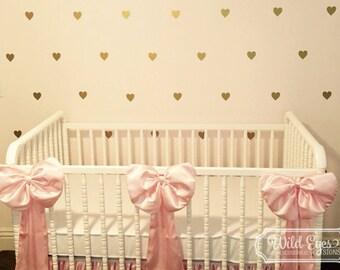 Heart Polka dot Wall Decals Vinyl wall decals Nursery Toddler Room Geometric wall pattern Gold confetti poka dot