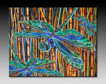 Dragonfly Garden, Ceramic Tile Wall Art