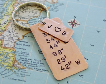 Latitude Longitude Keychain, Copper Gift, Hand Stamped, Coordinates Keychain, Personalized, Couple Initials, 7th Anniversary,Husband Gift