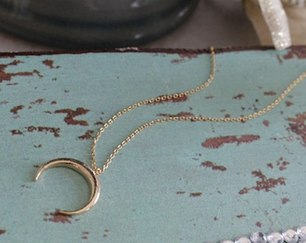 Crescent Moon Charm Dainty Necklace ~Gold - Minimal / Simple jewelry