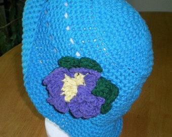 Hat, Cotton, Teal, Crochet, Women, Girls, Accessories, Clothing