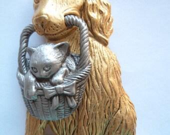 Vintage Signed JJ Gold/Silver pewter Dog carrying Kitten in Basket Brooch/Pin