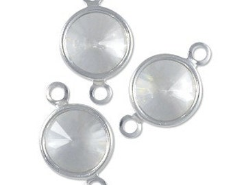 Crystal Clear Channel Link - Swarovski Round Channel - 6mm Crystal Clear Silver Plated - Package of 12