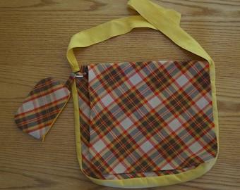 Plaid Crossbody Messenger Bag