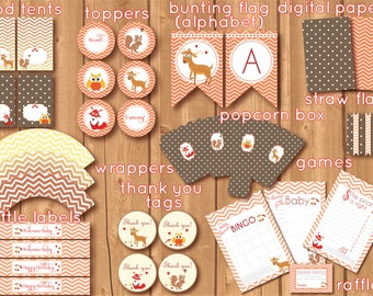 ON SALE! Woodland babyshower. Forest printables. Woodland Birthday package.