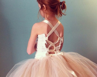 The Aster Ruffled Corset Top - Custom Ruffle Tutu Top with Satin Straps - Choose your colors and size - infant through 12 years, Flower girl