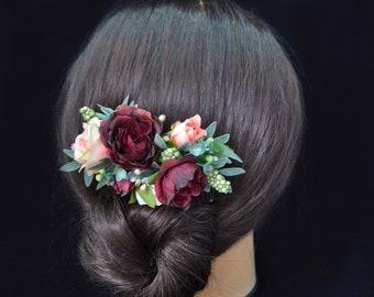 Bride hair Floral comb burgundy Flower comb for bride Headpiece for women Hairpiece for bridesmaid Bridal flower Woodland headpiece for her