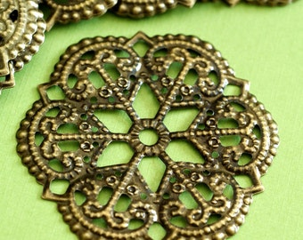 10pcs 52mm Antique Bronze Filigree Flower Wraps R0116-AB
