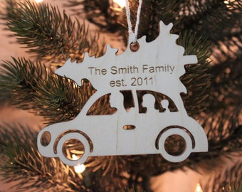 Personalized family car Christmas ornament