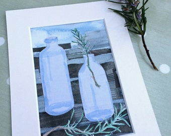 Bottles with rosemary - original art, mixed media painting