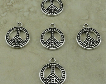 5 TierraCast Beaded Peace Sign Charm - Silver Plated Lead Free Pewter - I ship Internationally 2333