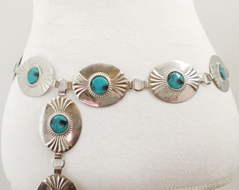 Vintage silver and turquoise concho chain belt.