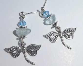 Aquamarine Dragonfly Post Dangle Earrings Sterling Silver March Birthstone