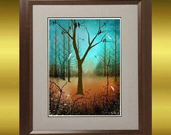 Contemporary Art Bare Tree Print -- Blackbirds and Dragonflies