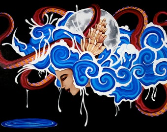"""Godess of Tides, 24""""×36"""" painting on canvas"""
