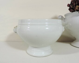 French Vintage Tureen/Vintage Small Ironstone Tureen/Small Soupiere/White Ironstone Tureen/Ironstone Tureen With Lion Heads/Lidless Tureen