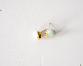 22k Gold Dipped Studs - Mint Stud Earrings, Porcelain Jewelry - 14k gold filled posts, Sensitive Ears