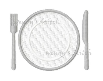 Kitchen knife fork dinner plate machine embroidery design instant download