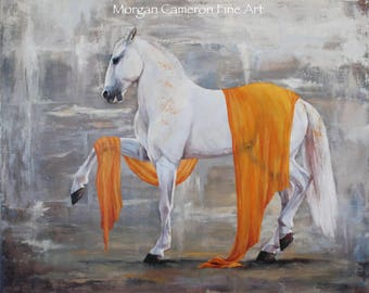 Horse Painting- Oil on Canvas- Horse Art- Equine Theater- Lipizzan- Andalusian- Dressage- Spanish Walk- White Horse- Orange Veil- Mare