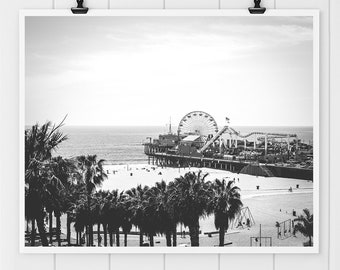 Santa Monica Pier Photo, LA Travel Photo, Black and White Art Print, Los Angeles, Black and White Photo, Modern Art Wall decor, California