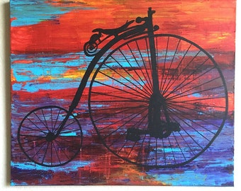Original Penny-farthing Bicycle - Blue, Purple, Orange, and Red Bike Silhouette Acrylic Painting