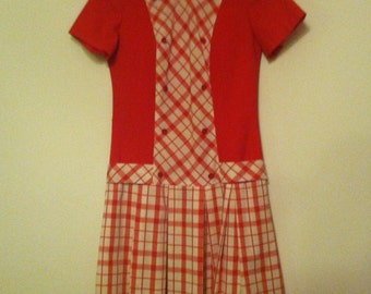 Red and off white vintage 1960s pleated gingham drop waist mini dress