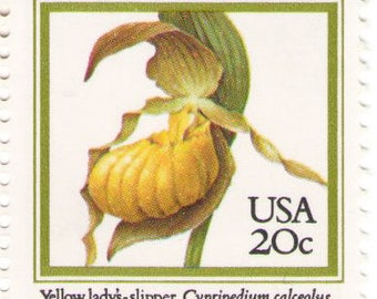 Unused 1984 Yellow Lady's Slipper Orchids - Vintage Postage Stamps Number 2077
