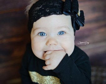 Black  Headband, Baby Bow Headband, Newborn Headband, Free Shipping, Photography Prop, Lace Headband,Bow Headband, Baby Headband, 908