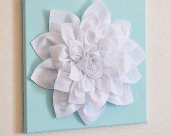 "Wall Flower -White Dahlia on Aqua 12 x12"" Canvas Wall Art- 3D Felt Flower"