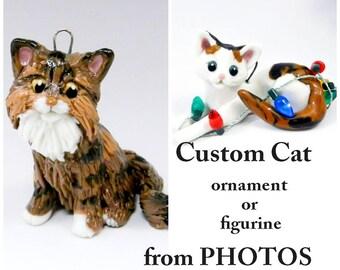 Cat Custom made from Photos as a Christmas Ornament, memorial or figurine