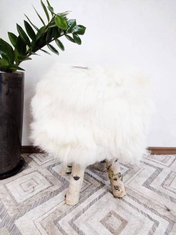 Cute Ottoman made with Natural Sheepskin and Birch Wood!!!