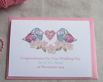 Bird & Blossom Wedding Card- Personalised Wedding Card- Mr and Mrs wedding card - Wedding Anniversary Card