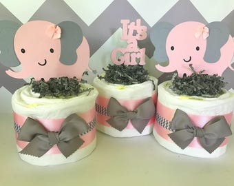 Elephant Mini Diaper Cakes in Pink and Gray, Elephant Theme Baby Shower Centerpieces