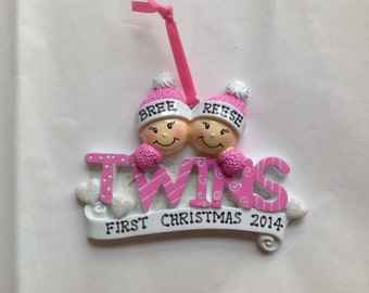 Personalized Twin Girls  First Christmas Ornament- Girl/Girl Newborn, Baby Shower Gift / Favor
