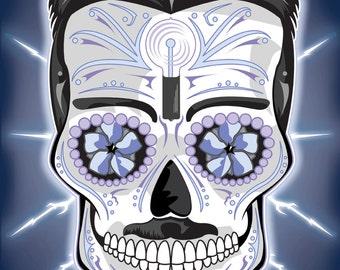 Nikola Tesla Sugar Skull Print 11x14 print