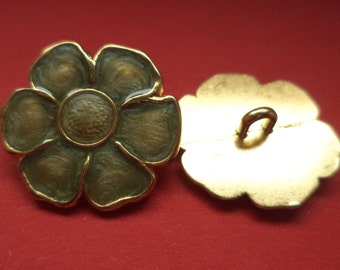 8 metal buttons gold turquoise buttons 23 mm (4826) metal button flower jacket buttons